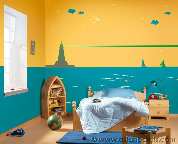 Walls thumbprinted Bedroom wall designs in pakistan