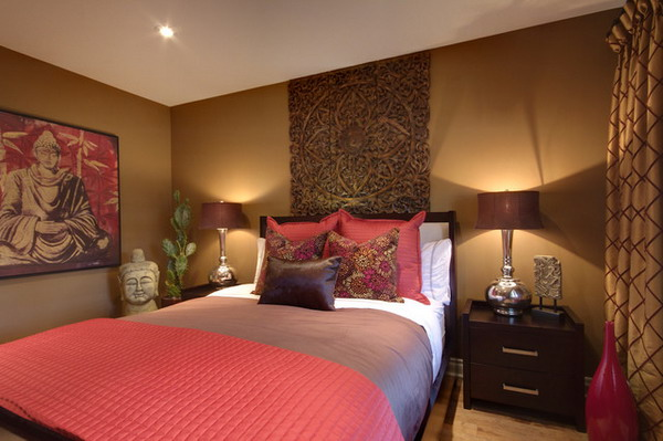 brown and red come together in this bedroom to create a sense of