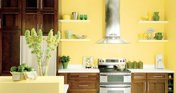 kitchen yellow green brown