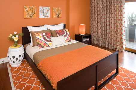 Orange-Asian-Bedroom-Design-Area-with-Cool-Flowers-Wall-Art-Pictures