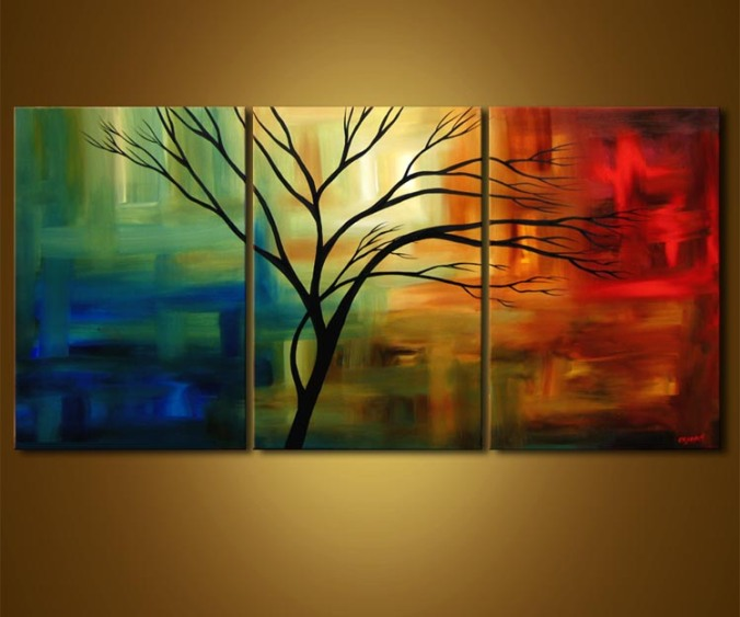3 panel nature inspired colour play art