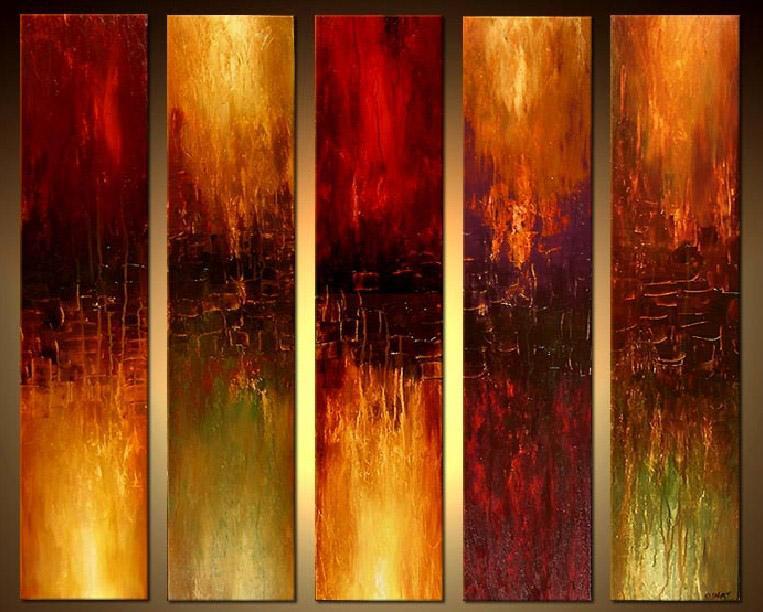 5 panel abstract painting_framingpainting