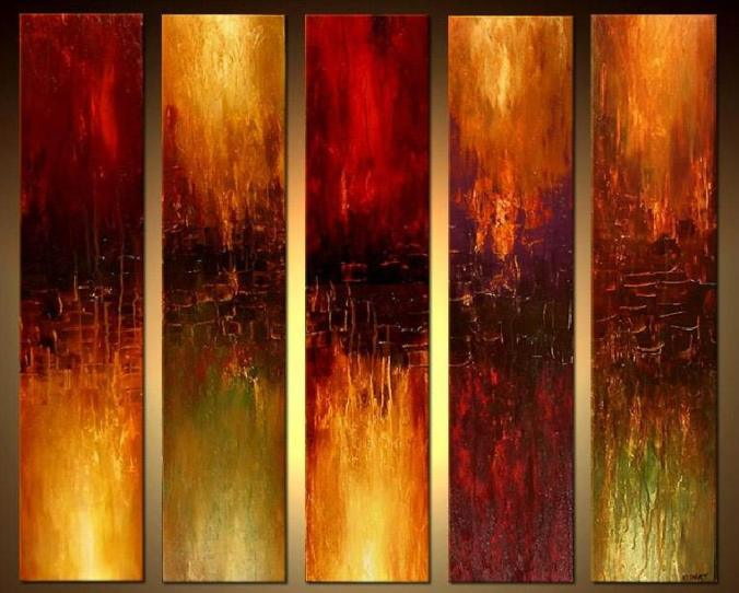 5 panel abstract painting_framingpainting
