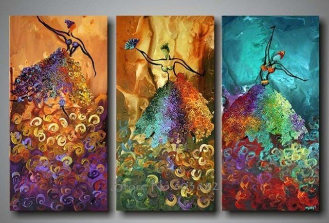 Abstract 3 panel dancers art_aliexpress