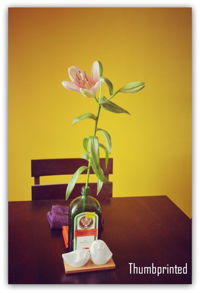 Recycled bottle vase and flowers, a constant on our dining table