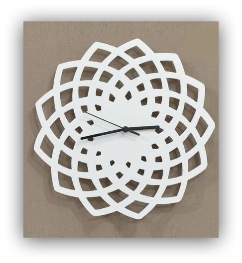 Geometric white pattern wall clock