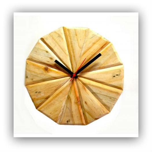 geometric wood clock
