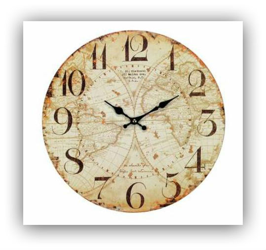 Vintage Map Wall Clock