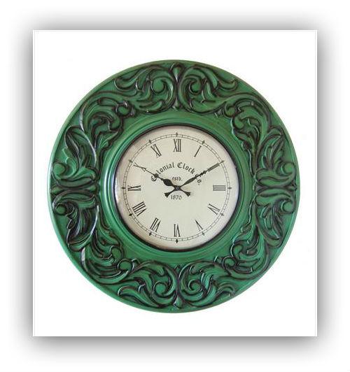Vintage wooden carved painted clock
